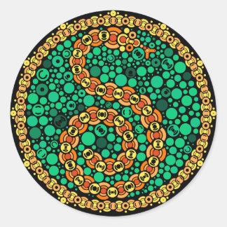 Pitón inalámbrico, prueba de la opinión de color, pegatina redonda