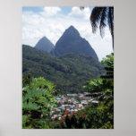 Pitons de Les, St Lucia Posters