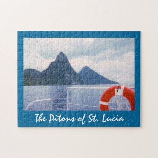 Pitons de St Lucia del rompecabezas del mar