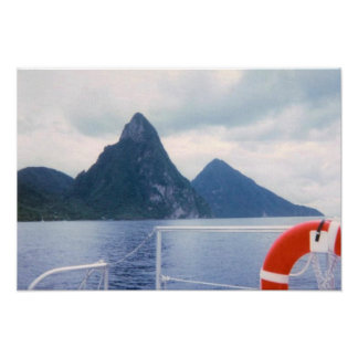 Pitons from the Sea Canvas Print