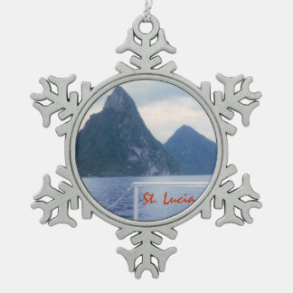 Pitons from the Sea Snowflake Pewter Christmas Ornament