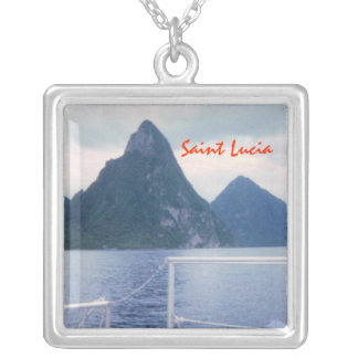 Pitons from the Sea Silver Plated Necklace