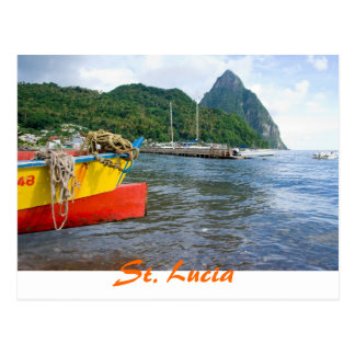 Pitons, Soufriere St Lucia Postcard