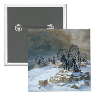 Pits at Gentilly in the Snow, 1879 Pinback Button
