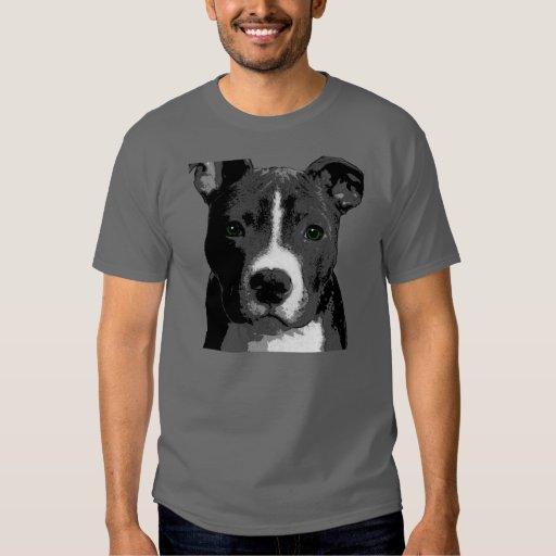 Pitt Bull Dog Big Green Eyes Picture Tee Shirt Top