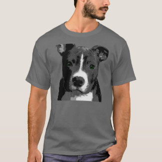 Pitt Bull Dog Big Green Eyes Picture Tee Shirt Top