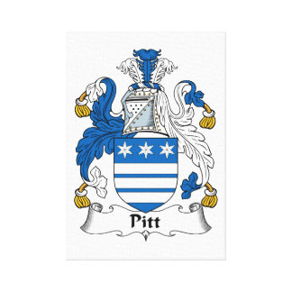 Pitt Family Crest Stretched Canvas Print