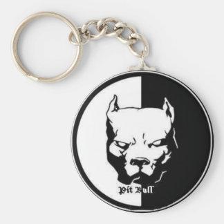 pittbull basic round button keychain