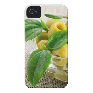 Pitted olives with green leaves and rosemary iPhone 4 case