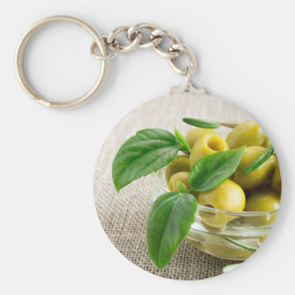 Pitted olives with green leaves and rosemary keychain
