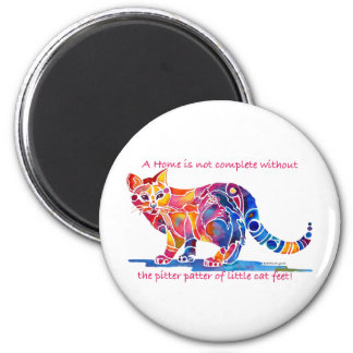 Pitter Patter of Little Cat Feet 2 Inch Round Magnet