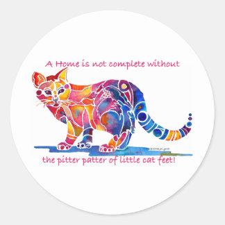 Pitter Patter of Little Cat Feet Classic Round Sticker