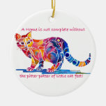 Pitter Patter of Little Cat Feet Double-Sided Ceramic Round Christmas Ornament