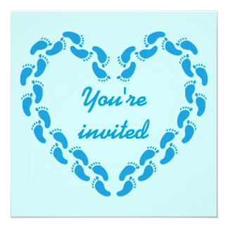 Pitter patter of little feet foot prints(Blue) Card