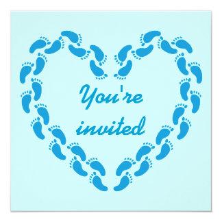 Pitter patter of little feet foot prints(Blue) Custom Invitations