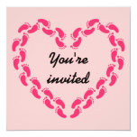 Pitter patter of little feet foot prints(Pink) Invitation