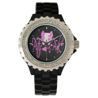 Pittie en rosa reloj de mano