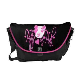 Pittie in Pink Rickshaw Messenger Bag