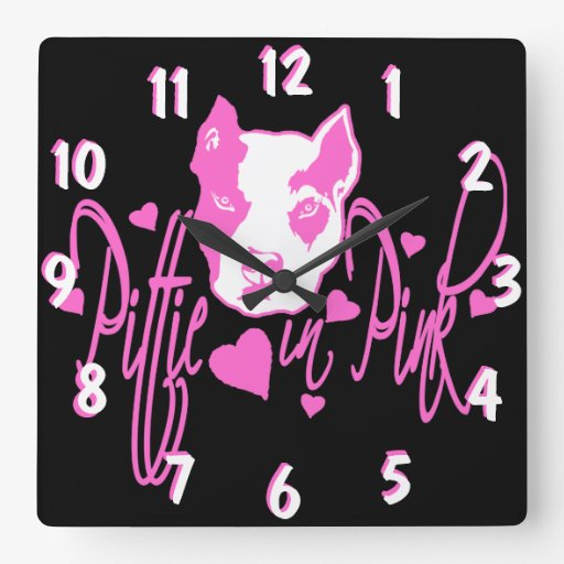 Pittie in Pink Wall Clock