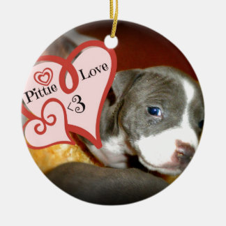 Pittie Love <3 Ceramic Ornament