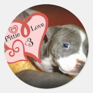 Pittie Love <3 Classic Round Sticker