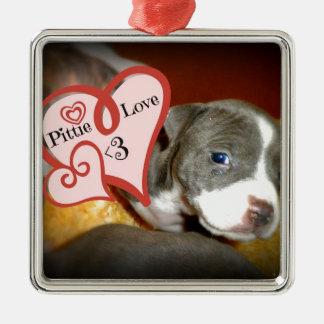 Pittie Love <3 Metal Ornament
