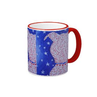 Pittie Love Ringer Coffee Mug