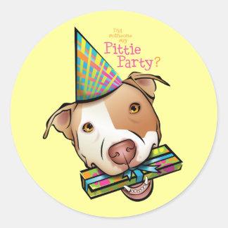 Pittie Party Classic Round Sticker