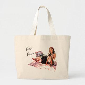 Pittie Picnic Large Tote Bag