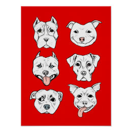 """Pittie Pittie Please!"" Dog Drawing Pattern Poster"
