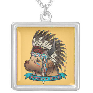 Pitting Bull Square Pendant Necklace