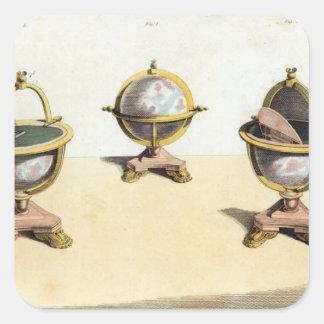 Pitt's Cabinett Globe Writing Table Square Sticker