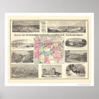 Pittsburg Cincinnati Railroad Map 1877 Posters