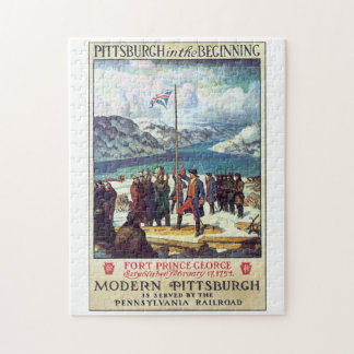 Pittsburg in the Beginning Vintage Travel Poster Jigsaw Puzzle