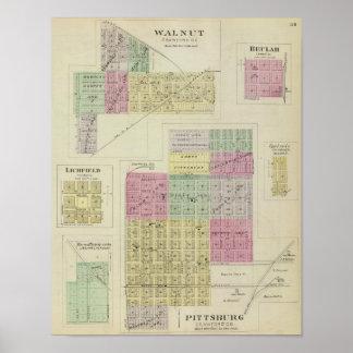 Pittsburg, Walnut, Beulah, and Lichfield, Kansas Posters