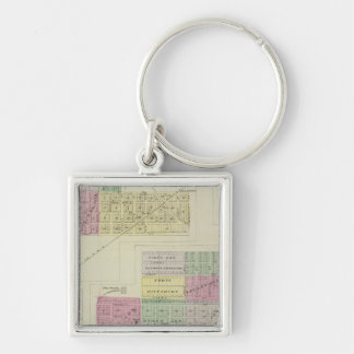 Pittsburg, Walnut, Beulah, and Lichfield, Kansas Silver-Colored Square Keychain