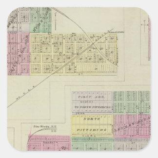 Pittsburg, Walnut, Beulah, and Lichfield, Kansas Square Sticker