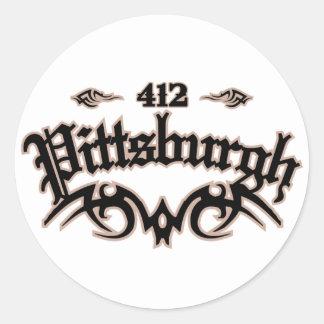 Pittsburgh 412 classic round sticker