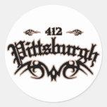 Pittsburgh 412 round sticker