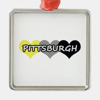 Pittsburgh Adorno Navideño Cuadrado De Metal