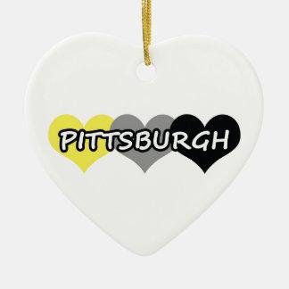 Pittsburgh Adorno Navideño De Cerámica En Forma De Corazón