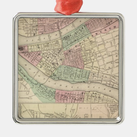 Pittsburgh and Allegheny, Pennsylvania Metal Ornament