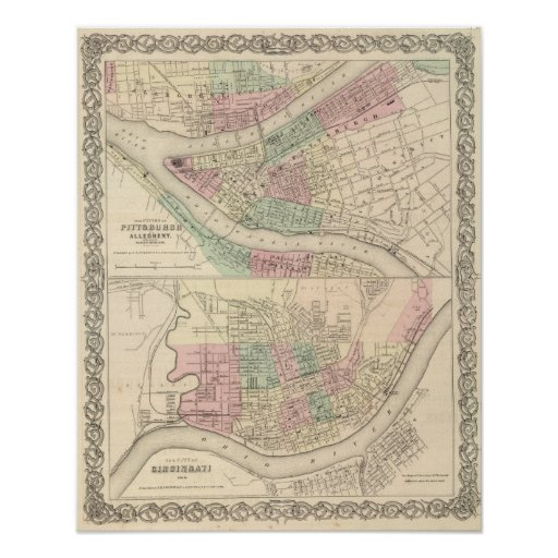 Pittsburgh and Allegheny, Pennsylvania Poster