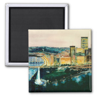 Pittsburgh at Dusk 2 Inch Square Magnet