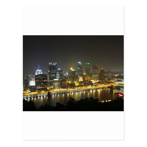 Pittsburgh at night postcard