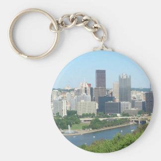 Pittsburgh Basic Round Button Keychain