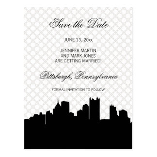 Pittsburgh Black and White Lace Save the Date Postcard