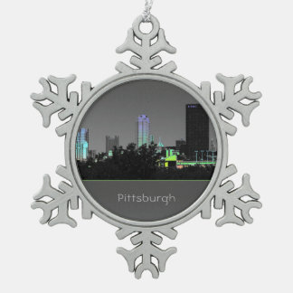 Pittsburgh-Buildings-Photo--Christmas-Ornament Snowflake Pewter Christmas Ornament
