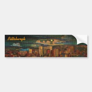 Pittsburgh By Moonlight Bumper Sticker Car Bumper Sticker