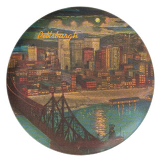 Pittsburgh By Moonlight Melamine Plate